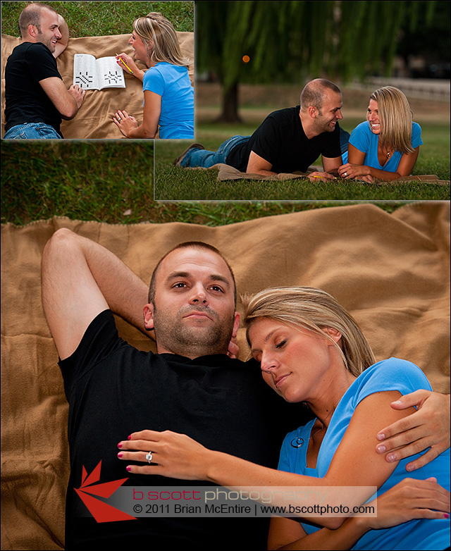 Collage of images of couple having a picnic and doing a crossword puzzle in Baker Park.