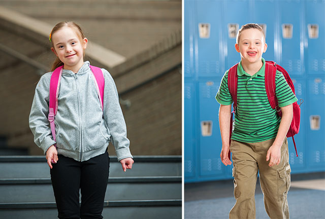 Down Syndrome Boy and Girl at Mainstreaming School