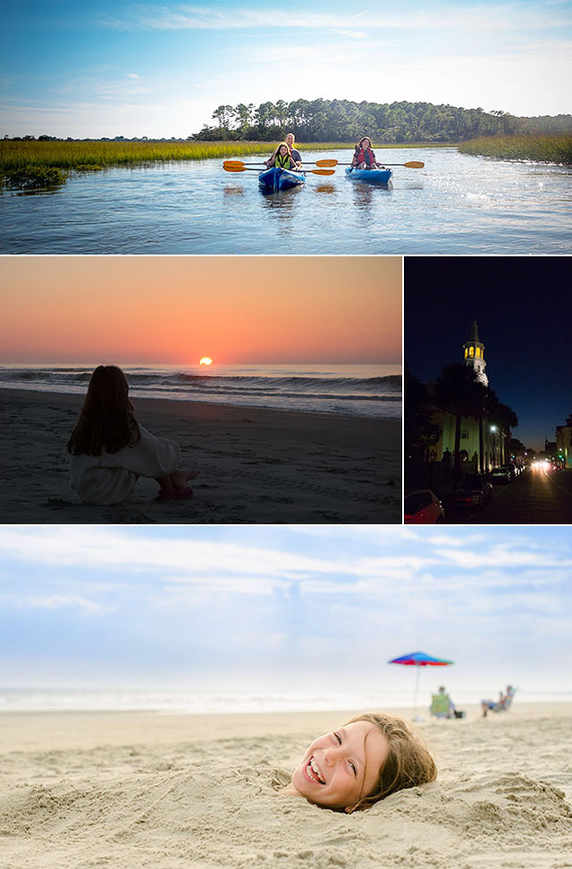Collage of Family Kayaking on Salt Marsh River, Beach Sunrise, Charleston, and Girl Buried in Sand